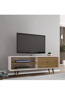 Rack Para Tv Até 60 Polegadas 2 Portas Retrô Ônix Decor Móveis Bechara Off White/Cinamomo