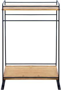 Prateleira Com Suporte Para Toalha- Preta- 95X61,5X3Decor Glass