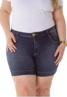 Shorts Jeans Plus Size - Confidencial Extra Cintura Alta Tradicional Plus Size - Tricae