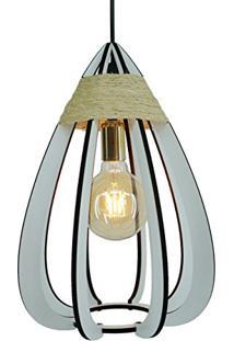 Luminária Pendente Gota De Madeira Crie Casa Branca