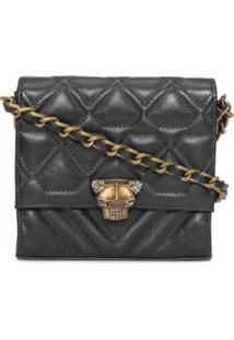 Bolsa Envelope Mini Leopardo Animale - Preto