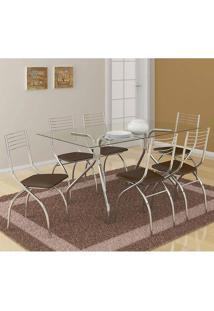 Mesa 387 Com Vidro Incolor Cromada Com 6 Cadeiras 146 Cacau Carraro