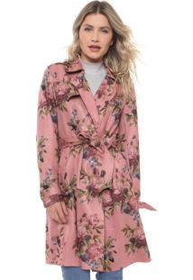 Casaco Sobretudo Lily Fashion Suede Estampado Rosa