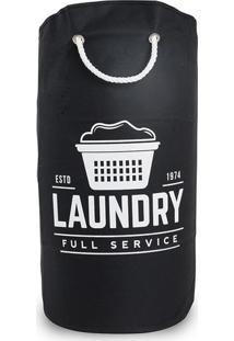 Cesto Para Roupas Secalux Laundry Redondo Com Alças Preto 25L