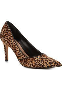 Scarpin Shoestock Salto Alto Leopard - Feminino-Caramelo