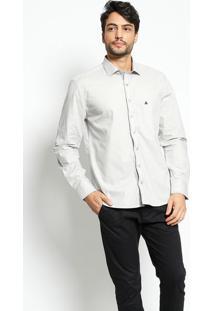 Camisa Confort Fit Com Pespontos- Cinza Claro & Pretavip Reserva