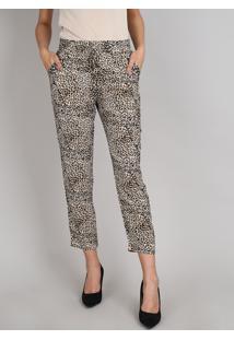 Calça Feminina Cintura Alta Estampada Animal Print Onça Com Cordão Bege