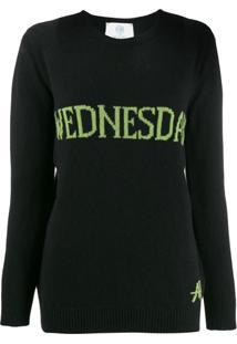 Alberta Ferretti Suéter Com Padronagem 'Wednesday' - Preto