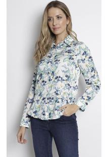 caabe0c8b6 ... Camisa Floral - Branca   Verde Clarodudalina