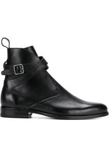 Saint Laurent Ankle Boot 'Dare' De Couro Com Fivela - Preto