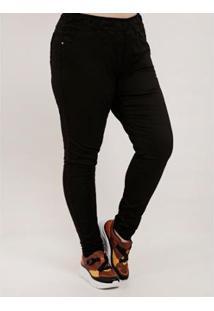 Calça Cambos Plus Size Jogger Sarja Feminina - Feminino-Preto