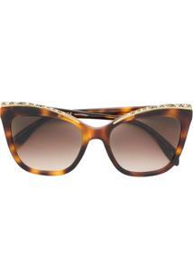 d76f94f3e786f R  4000,00. Farfetch Alexander Mcqueen Eyewear Óculos De Sol Com Aplicações  - Marrom