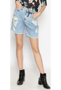 Bermuda Jeans Estonada Com Destroyed - Azul Clarocalvin Klein