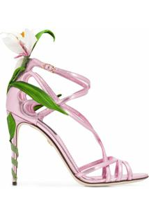 Dolce & Gabbana Sandália Kiera Com Bordado - Rosa