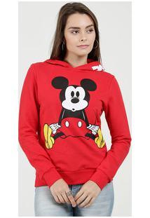 Blusão Feminino Moletinho Capuz Estampa Mickey Disney
