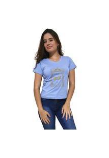 Camiseta Feminina Gola V Cellos Retro Frame Premium Azul Claro
