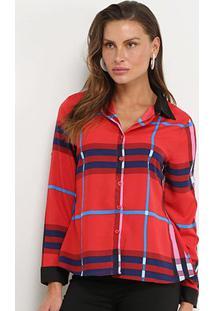 Camisa Xadrez Manga Longa Charm Lady Feminina - Feminino-Vermelho