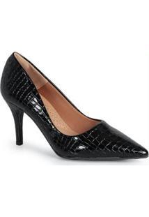 Sapato Scarpin Feno Animal Skin Preto Preto