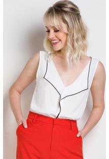 Blusa Branca Decote V Forum