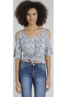 Blusa Feminina Open Shoulder Estampada De Arabescos Manga Curta Decote Redondo Off White