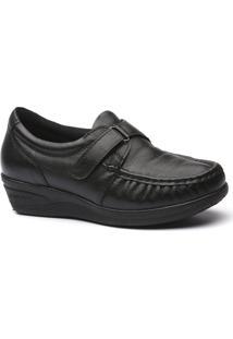 Sapato Feminino Anabela 183 Em Couro Doctor Shoes - Feminino-Preto