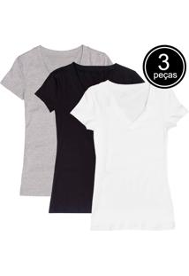 Kit Com 3 Blusas Part.B Decote V Colors
