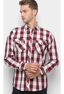 Camisa Xadrez Watkins & Krown Masculina - Masculino-Vinho+Branco