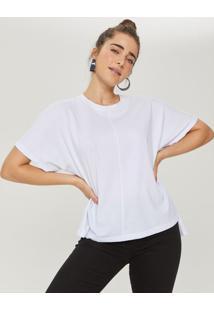 Amaro Feminino T-Shirt Ampla Abertura Lateral, Branco