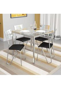 Conjunto De Mesa Com 4 Cadeiras Preto Reno Com Nápolis Kappesberg
