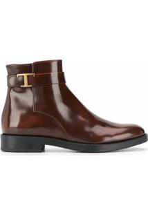 Tod'S Ankle Boot Com Tira T - Marrom