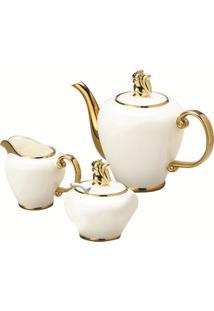 Conjunto De 3 Peças Em Porcelana Para Café Brancas Charme 8017 Lyor Classic