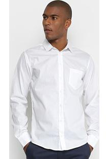 Camisa Slim Manga Longa Colcci Básica Masculina - Masculino-Branco