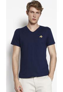 Camiseta Com Bordado- Azul Marinho & Amarelaclub Polo Collection