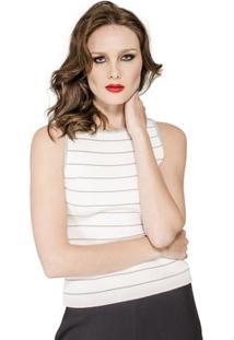 Regata Canelada Listrada Viviane Furrier - Feminino-Off White