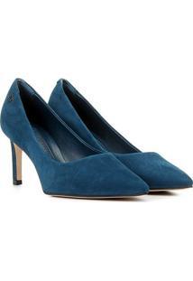 Scarpin Couro Capodarte Salto Alto Nobuck - Feminino-Azul