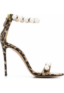 Casadei Sandália Com Estampa De Leopardo E Salto 115Mm - Neutro