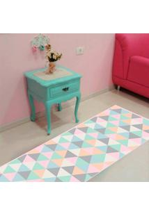 Passadeira Mosaico Triangulo Rosa Casa Dona Antiderrapante 0,66X2,40Cm