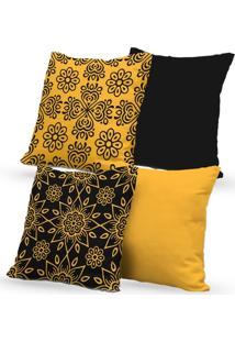 Kit 4 Capas De Almofadas Decorativas Own Mandalas Preta E Amarela 45X45 - Somente Capa
