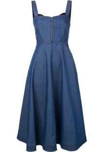 Karl Lagerfeld Vestido Jeans Evasê - Azul