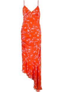Nicholas Vestido Drapeado Com Estampa Floral - Laranja