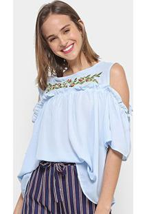 Blusa Chic Up Bata Off Shouder Bordado Feminina - Feminino-Azul