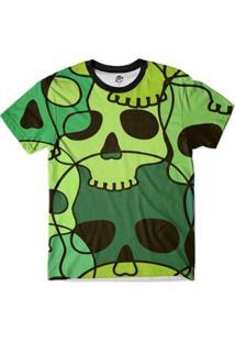 Camiseta Bsc Caveira Desenho Full Print Masculina - Masculino-Verde