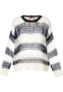 Nº21 Striped Relaxed Jumper - Branco
