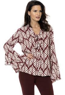 Camisa Bisô Laço Folhas Vinho