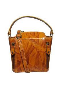 Bolsa Pequena De Couro Quadradinha - Ref.198 Caramelo