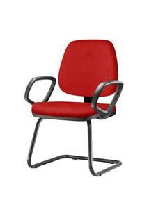 Cadeira Job Com Bracos Fixos Assento Courino Vermelho Base Fixa Preta - 54552 Vermelho