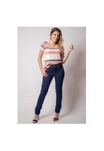 Calça Jeans Skinny Pau A Pique Básica Azul Escuro