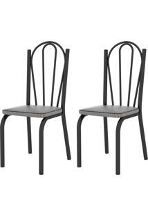 Kit 2 Cadeiras 121 Europa Preto/Platina - Artefamol - Preto - Dafiti