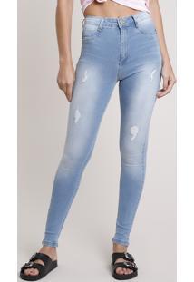 Calça Jeans Feminina Sawary Skinny Pull Up Super Lipo Cintura Alta Com Rasgos Azul Claro