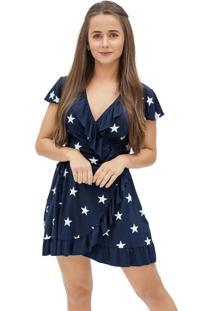 Vestido Feminino Envelope Com Babado Azul